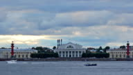 Old Saint Petersburg Stock Exchange and Rostral Columns video