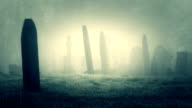 Old Scratched Film Of A Forgotten Fog Covered Graveyard video