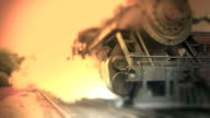 Old Steam Engine Train Leaves Station - Color video