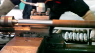 old style lathe machine doing metal working video