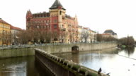 Old Town architecture and Vltava river in Prague video