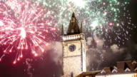 Old Town City Hall and holiday fireworks  in Prague, view from Old Town Square, Czech Republic video