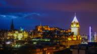 Old town Edinburgh and Edinburgh castle at night, Scotland UK video