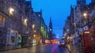 Old town Edinburgh and Edinburgh castle in Scotland UK rainy day video