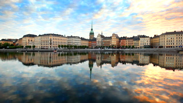 Old town in Stockholm city in morning video