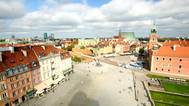 Old Town in Warsaw, time lapse video