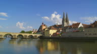 T/L Old Town Of Regensburg And Danube River video