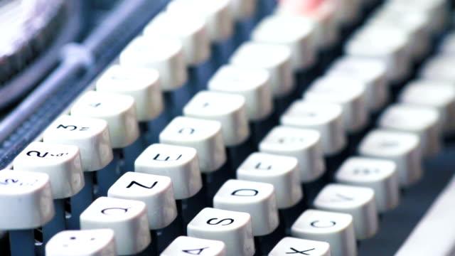 old CU typewriter, detail of the keys, vintage writer video