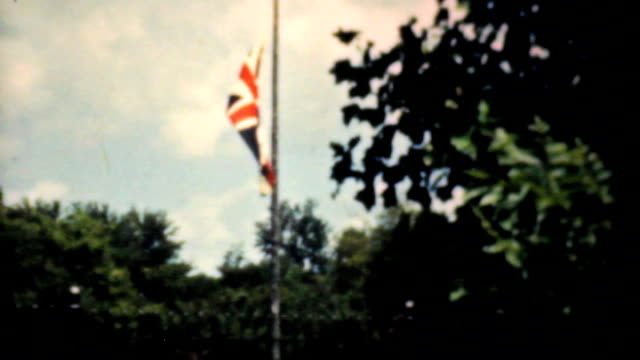 Old Union Jack Flag Flying Proudly-1940 Vintage 8mm film video