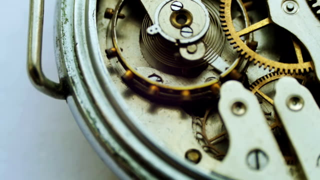 Old vintage clock mechanism working, closeup shot with soft focus video