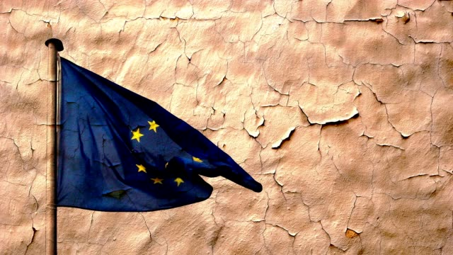 Old wall texture and eu flag video