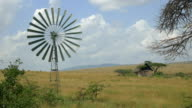 Old windmill spinning in Africa video