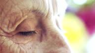 old woman eyes: closeup portrait on look of elderly woman video