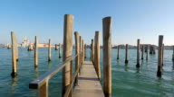 Old wood wharf, Venice, Italy video