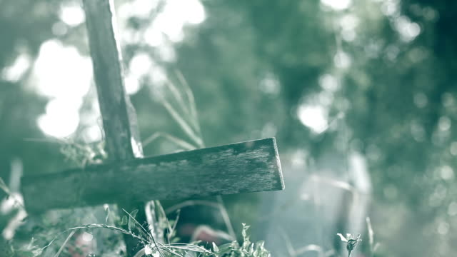 Old wooden cross in the cementery video