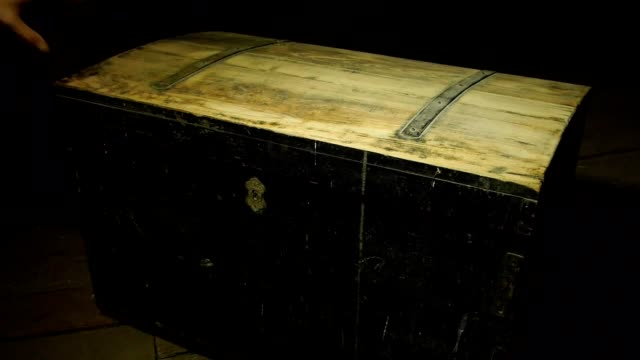 Old wooden pirate chests, treasure hunter video