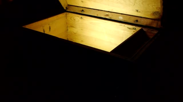 Old wooden pirate treasure chest video