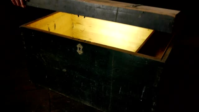 Old wooden treasure chest with strong glow from inside video
