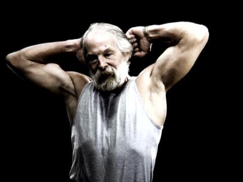 PAL Older Man Flexing  Muscles video