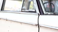 Oldtimer vehicle with steering wheel and speedometer. video