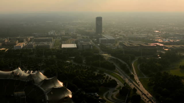 Olimpia park and highway Munich skyline video