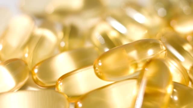 Omega3 cod-liver oil gel capsules close-up video