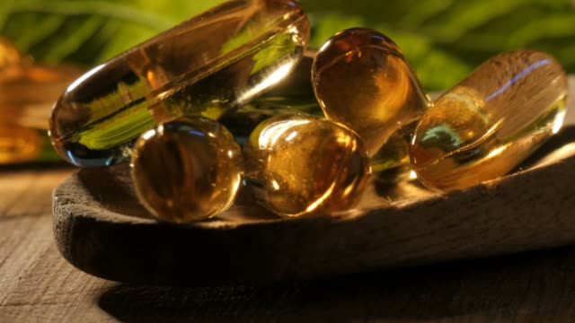 Omega-3 Vitamins and supplements health food pills for healthy lifestyle video