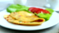 omelet tomato  on  plate video