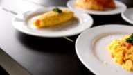 Omelets, breakfast served with coffee video