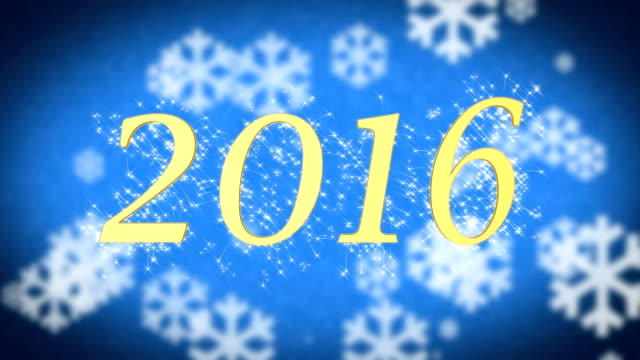 2016 on blue snowy background, New Year celebration, farewell to the old year video