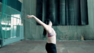 one caucasian woman throw iron ball, grenade video
