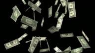 One dollar bills falling (Alpha) video