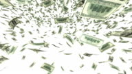 One hundred dollar bills falling through air. Loop video