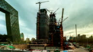 One of many construction sites in Beijing. Timelapse. video