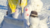 One of the many snowman figures in the ground video