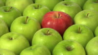 One red apple in a group of green video