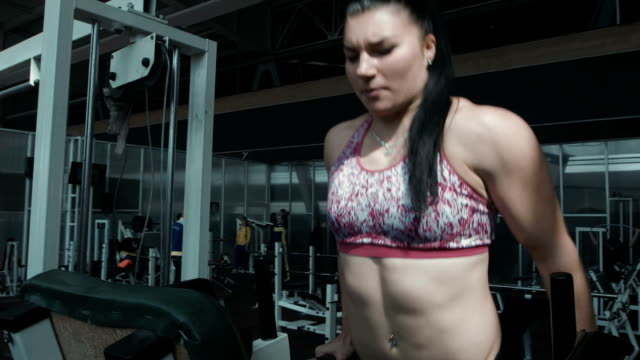 one strong caucasian female doing push-ups video