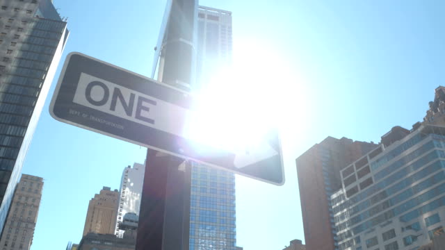 CLOSE UP: One way street signs at intersection on sunny day in New York City video