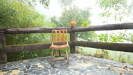 One wooden chair Located on the terrace video