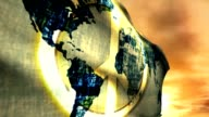 One World Global Peace Flag Map Protest Sunset Animation video