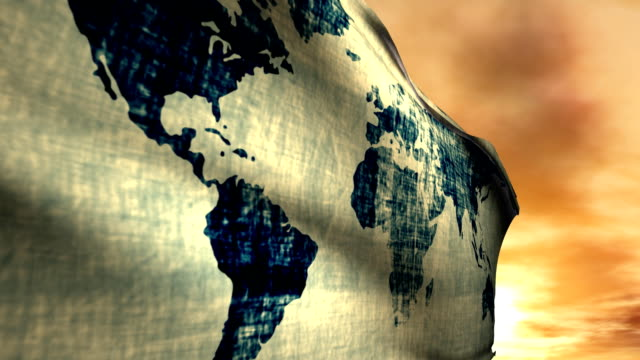One World Travel Map Flag with Sunset Background Blowing video