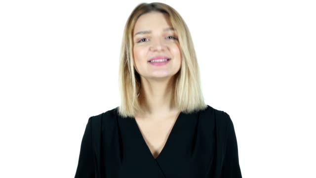 Online Video chat, Young Woman on White Background video