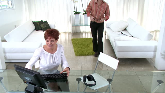 Online with computer at home video