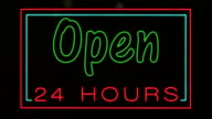 Open 24 Hours Neon Sign HD Video video
