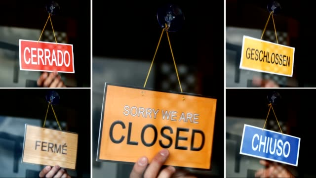 Open and closed signs (5 languages) video