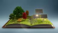 Open book makes Solar power plant, solar panel, solar energy, gray background. video