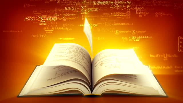 Open book with mathematical formulas flying off. Brown version. video