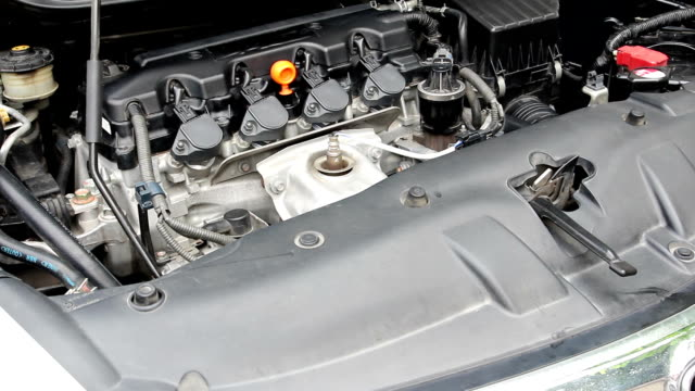 open car hood for engine checking video