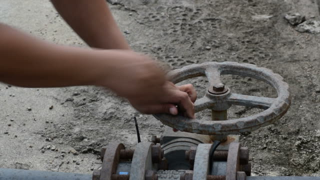 Open or close valve for water pipe. video
