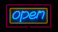 Open sign. NEON video